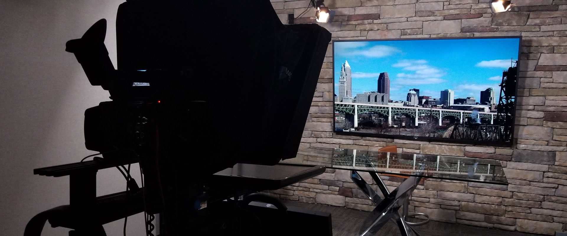 Cleveland media studio green screen teleprompter 4K cameras